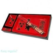 Набор для суши из 4 предметов, 28х13 см, красный с черным узором
