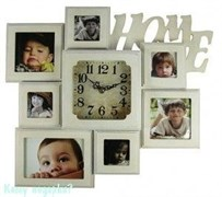 Часы-фоторамка на 7 фото, 42x36x5 см