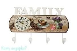 """Коллаж-ключница с часами """"Family"""", 40x26 см"""
