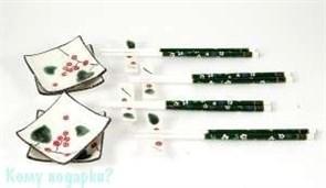 Набор для суши на 4 персоны: соусницы, наборы палочек с подставками