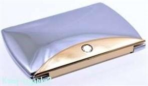 Зеркало компактное с кристаллами «Chrome&Gold», 3-кратное увеличение