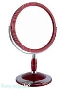 Зеркало настольное круглое «Red», двухстороннее, 18 см, с кристаллами