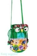 Рюкзачок «Сова», ткань, 17х17 см, зелёный