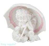 Фигурка «Ангел с щенками под зонтиком», коллекция «amore», h=18 см