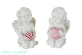 Комплект фигурок из 2 шт. «Ангел с сердцем и ангел с розой», коллекция «amore», 1x1x4 см