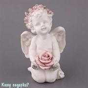 Фигурка «Ангелочек в венке с розой», коллекция «amore», h=9 см