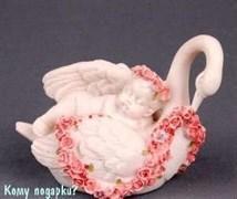 Фигурка «Спящий ангелочек на лебеде», коллекция «amore», h=8 см