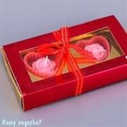 Подарочный набор с двумя аромо-свечами, розовый
