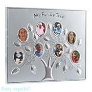 Рамка на 8 фото «Семейное древо», 30х25 см, серебро