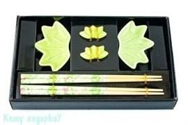 """Набор для суши на 2 персоны """"Листики"""", зеленый"""