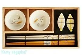 Набор для суши на 2 персоны, белый с рисунком