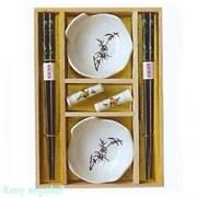 Набор для суши на 2 персоны, белый, рисунок - бамбук