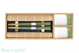 Подарочный набор для суши на 2 персоны в упаковке из бамбука, зелёный