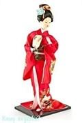 Кукла декоративная «Гейша с вером», h=40 см, красное кимоно