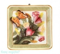 "Тарелка декоративная ""Бабочка на цветах"", 20x21x2,5 см, зеленая рамка"
