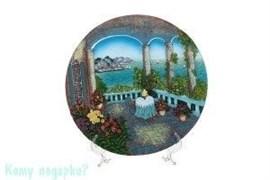 Тарелка декоративная на подставке «Веранда с видом на море», d=23 см