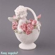 Фигурка «Ангелочек в корзине роз», коллекция «amore», h=13 см
