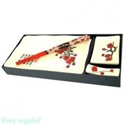 Набор для суши из 4 предметов, 28х13 см, белый с красными цветами