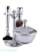 Набор для бритья, 3 предм., серебряный, хром