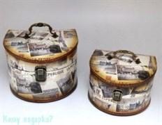 Набор из 2-х деревянных шкатулок; 23x22x16,5 см; 19,5x18x12,5 см
