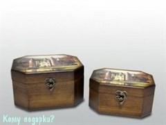 Набор из 2-х шкатулок; 19,5x16x10,5 см, 16,5x12,5x8,5 см