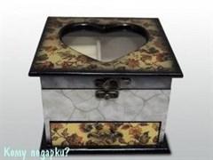 Шкатулка для драгоценностей деревянная, 17x17x12 см