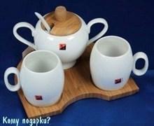 Подарочный чайный набор на бамбуковой подставке
