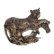 Фигурка декоративная Леопард цвет: бронза L22W12H18см
