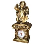 Часы настольные Ангел с фонариком цвет: сусальное золото Н25 см