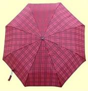 Зонт полный автомат Клетка красно-бордовая