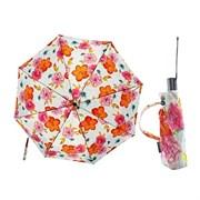 Зонт полный автомат Атласный Цветы на белом фоне