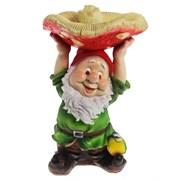 Фигура садовая Гном с грибом на голове L31W31H48 см.