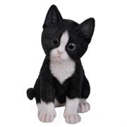 Фигура садовая Котёнок чёрно-белый L14W12H20 см.