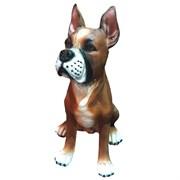 Фигура садовая Щенок боксера купированные уши L24W22H36 см.