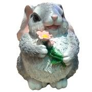Фигура садовая декоративная Зайка с цветком большой