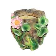 Кашпо декоративное Камень с лягушкой и лотосом L21W21H18 см.