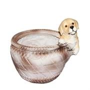 Кашпо декоративное Щенок у круглой корзины L19W18H19 см.