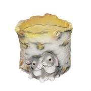 Кашпо декоративное Пенек березовый с зайчатами L21W18H15 см.
