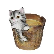 Кашпо декоративное Котенок в круглой корзине L19W16H21 см.