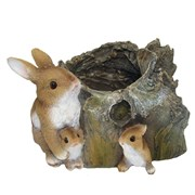 Кашпо декоративное Три Зайца у пенька L35.5W28H21.5 см.