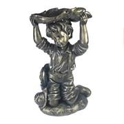 Фигура декоративная Мальчик под листомв в бронзе L21W15H25 см.