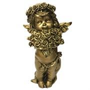 Фигурка декоративная Ангел с розами золотой L12.5W9Н22см.