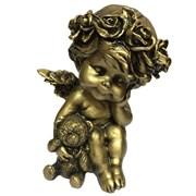 Фигура декоративная Ангелочек с медведем сусальное золото L9.5W9.5H13 cм.