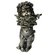 Фигурка декоративная Ангел с розами серебристый L12.5W9Н22см.