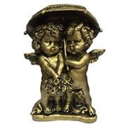Фигура декоративная Ангелочки под зонтом сусальное золото L11.5W9.5H15.5 cм.