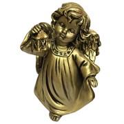 Фигура декоративная Ангел с фонариком  сусальное золото L11W8H15 cм.
