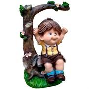 Фигура садовая декоративная Мальчик на качелях L28W24H45 см.