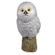 Фигура декоративная Сова на пеньке цвет: серебро L10.5W12.5H25см
