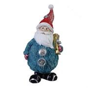 Фигура декоративная Дед Мороз с подарком цвет: голубой с красным колпаком L7W6H16.5см
