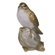 Фигура декоративная Птичка на орешке цвет: золото-серебро L8W8H16см